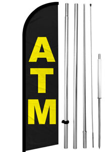 Atm Windless Swooper Feather Flag 15 Tall Pole Kit Banner Sign Kf h