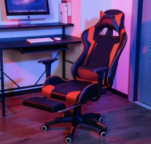 High back Executive Office Chair Recliner Footrest Gaming Chair Swivel Leather