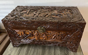 Vintage Chinese Hand Carved Trunk Chest Fire Breathing Dragons Royalty Nice