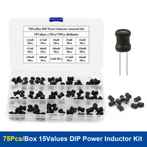 75pcs box Dip Power Inductor Assorted Kit 15values 8x10mm 2 2uh 10mh