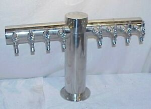 Eight Tap Beer Tower 8 Spigot Polished Stainless Steel Ss Bar Fountain