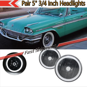 Pair General Round White Led Halo Head Lamps Lights 5 3 4 Inch W Balck Housing