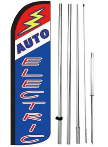 Auto Electric Windless Swooper Flag Kit 15 Feather Banner Sign Bz h