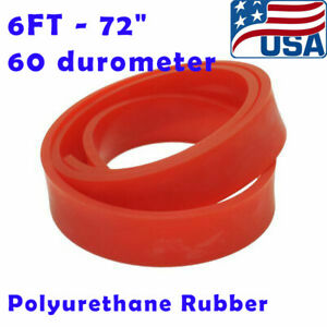 6ft 72 Silk Screen Printing Squeegee Blade 60 Duro Polyurethane Rubber Red