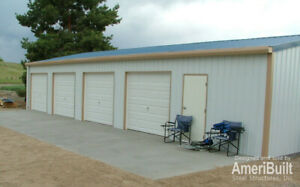 steel Metal 4 car Garage With Shop Building Kit