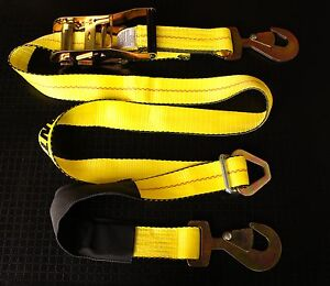 4 Axle Straps Race Car Trailer Car Hauler Ratchet Tie Down Strap Flatbed Tow Yl