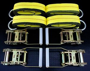 8 Ratchets 8 8 Lasso Straps For Car Hauler Wrecker Tow Truck Flatbed Trailer