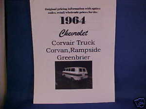 1964 Chevrolet Corvair Rampside Greenbrier Van Truck 64 Dealer Whsl Retail Info