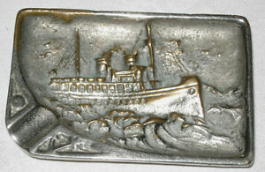 Antique Bronze Sea Ship Maritime Nautical Art Tray Holder Paperweight Plaque