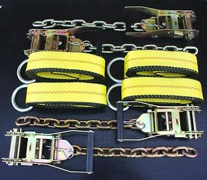 8x Chain Ratchet 12 Lasso Strap Tow Truck Flatbed Wrecker Car Hauler Tie Down