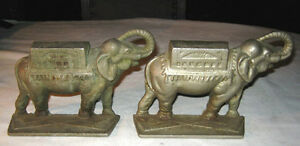 Antique Art Nouveau Deco Elephant Statue Bookends Circus Cast Iron Book Ends