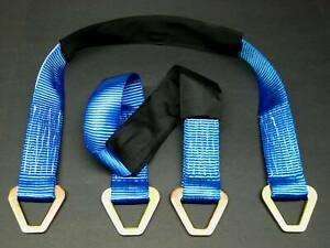 2 Hd 33 Axle Straps Car Hauler Trailer Atv Utv Off Road Wheel Tie Down Blue