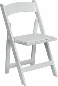 Lot Of 100 White Wood Folding Chairs Vinyl Padded Seat