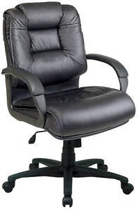 Black Soft Leather Executive Computer Office Desk Chair