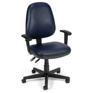 Navy Vinyl Posture Executive Computer Desk Office Chair
