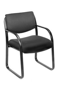 Boss Black Fabric Guest Office Chair Steel Frame New