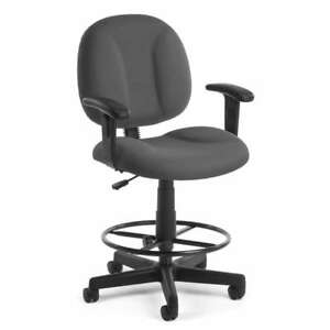 Gray Fabric Drafting Stool Office Desk Chair