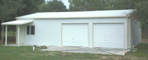 Steel Metal 2 car Garage With Shop Area Building Kit 864 Sq