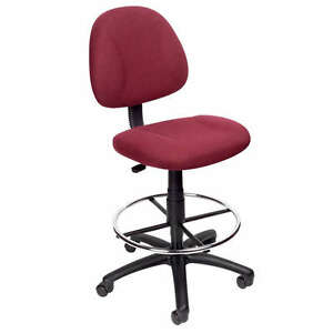 Burgundy Drafting Office Chair Stool W footring