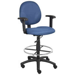 Blue Mid Back Drafting Stool Chair With Arms