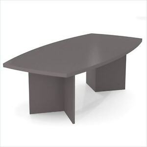 Boat Shaped Light Board Top Conference Table In Slate