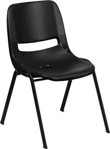 Lot 10 Black High Impact Plastic Stack Classroom Chairs