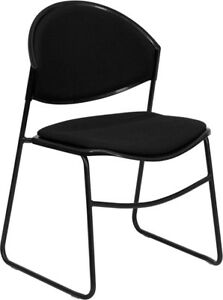 Lot Of 10 Black Padded Stack Side Guest Chairs