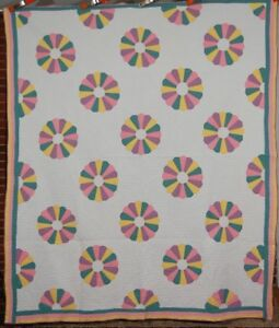Well Quilted 30 S Pastel Dresden Plate Antique Quilt