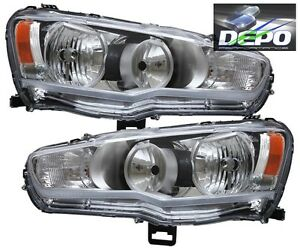 Fit 08 15 Mitsubishi Lancer Chrome Head Light Evo X Depo