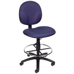 Blue Mid Back Drafting Office Chair Stool W footring