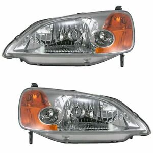 Headlights Headlamps Pair Set Lh Left Rh Right For 01 03 Honda Civic Sedan