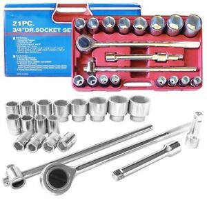 21pc 3 4 6 Point Socket Set Mm Automotive Truck Tools Wholesale Shop Tool