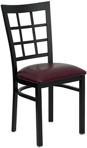 Lot Of 20 Metal Window Back Restaurant Chairs With Burgundy Vinyl Seat