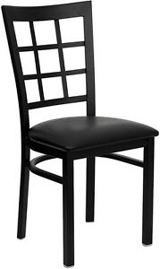 Lot Of 20 Metal Window Back Restaurant Chairs With Black Vinyl Seat