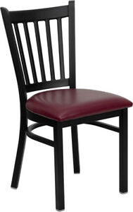 Metal Vertical Slat Restaurant Chair With Burgundy Vinyl Seat