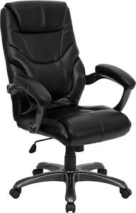 Black Leather Contemporary Style High Back Office Desk Chair With Arms
