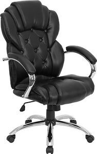 Transitional Style Black Leather Executive Office Desk Chair With Chrome Finish