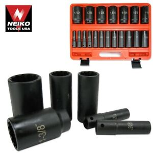 19pc 1 2 Dr 12 Point Deep Air Impact Tool Socket Set Sae Automotive Shop Tools