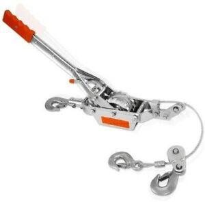 2 Ton 3 Hook Come A Long Winch Hoist Hand Cable Puller Winches Lever Hoists Tool