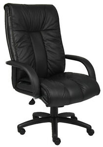 Black Italian Leather Office Desk Chair Executive Style With Padded Arms B9301
