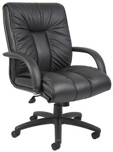 Black Italian Leather Office Desk Chair Executive Style With Padded Arms B9306