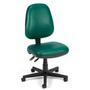 Armless Green Vinyl Ergonomic Posture Task Office Desk Chair
