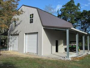 Steel Gambrel Building Shell Kit 2 Floors 2400 Sq Ft Plus 2 Lean To Sheds