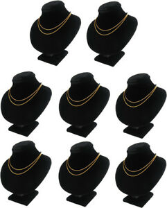 8pc 5 5 h Black Velvet Jewelry Display Bust Necklace Case Chain Pendant Ja49b8