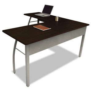 Reversible L shape Desk With Powder Coated Steel Frame And Mocha Laminate Top