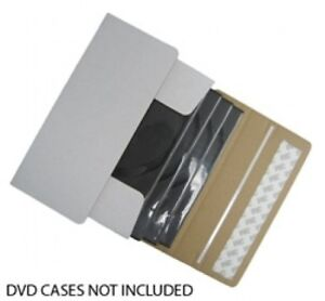 50 Dvd Cardboard Box Self Seal Mailers ship 1 4 Dvds In Dvd Cases