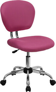 Armless Mid Back Office Desk Chair Pink Mesh Upholstery With Chrome Accents