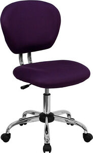 Mid Back Office Desk Chair Purple Mesh Upholstery With Chrome Accents