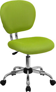 Mid Back Office Desk Chair Apple Green Mesh Upholstery Chrome Accents