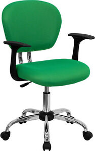 Mid Back Office Desk Chair With Arms Bright Green Mesh Upholstery Chrome Accents